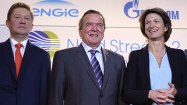 En 2017, le plan de financement de Nord Stream 2 a été validé par Alexeï Miller président de Gazprom, l'ex-chancelier allemand Gerhard Schroeder qui travaille désormais pour le groupe russe et Isabelle Kocher, présidente d'Engie