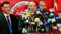 Essam el Erian, haut responsable des Frères musulmans, lors d'une conférence de presse au Caire. La confrérie islamiste a affirmé vendredi que son candidat Mohamed Morsi était arrivé en tête du premier tour de l'élection présidentielle en Egypte devant le