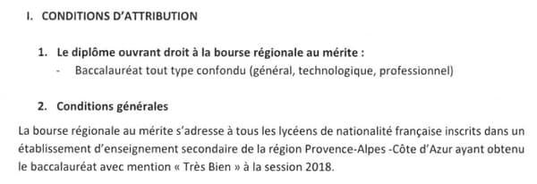 Un extrait du règlement accompagnant la délibération du Conseil régional