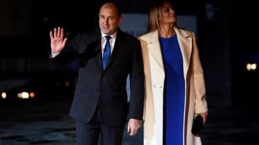 Le président bulgare Roumen Radev et sa femme.