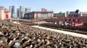 Photo diffusée par l'agence de presse officielle nord-coréenne. Rassemblement sur la place Kim Il-Sung, en soutien à Kim Jong-Un.