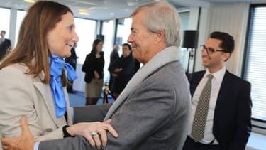 Michèle Reiser (membre du comité d'éthique de Canal Plus) et Vincent Bolloré lors des voeux du CSA jeudi 21 janvier