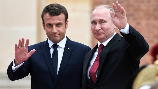 Emmanuel Macron et Vladimir Poutine à Versailles, en mai 2017