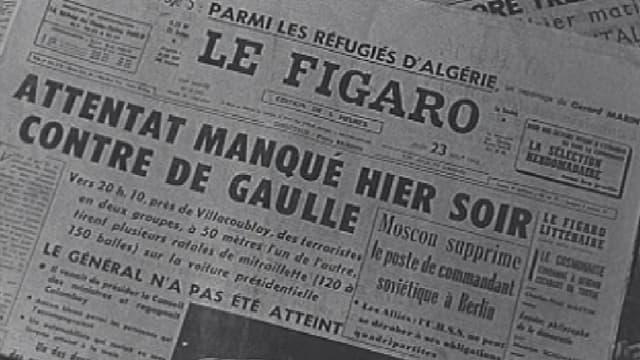 Images d'archives de journaux, au lendemain de l'attentat du Petit-Clamart.