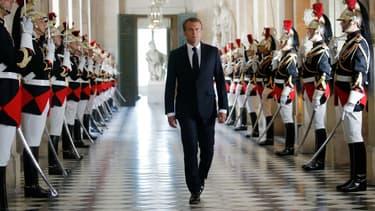 Emmanuel Macron arrivant à Versailles le 9 juillet 2018.