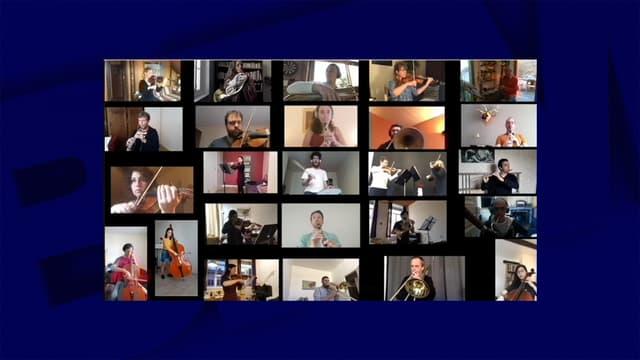 26 musiciens de l'Orchestre national de Lyon rassemblés dans une vidéo.