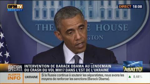 BFM Story: Edition spéciale: Intervention de Barack Obama au lendemain du crash du vol MH17 en Ukraine - 18/07