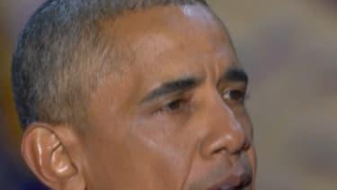 Barack Obama, ému, lors de son discours à Chicago.