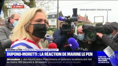 """Marine Le Pen à propos d'Eric Dupond-Moretti: """"J'ai vu beaucoup de forts en gueule venir ici et repartir humiliés par l'expérience"""""""
