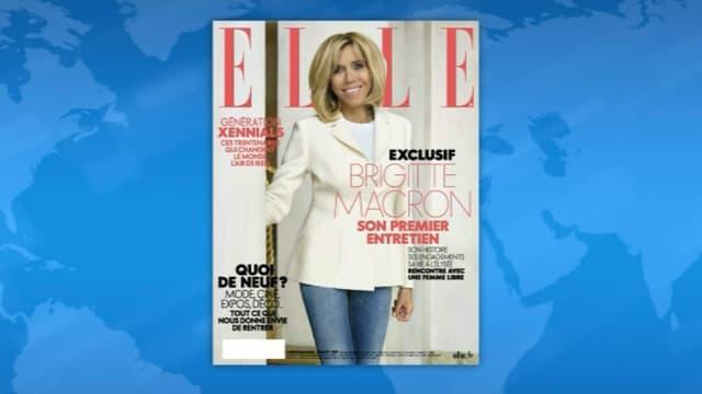 """Brigitte Macron en une du magazine """"Elle"""""""