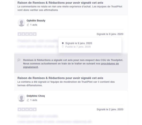 """Page Trustpilot de """"Remises et Réductions"""""""