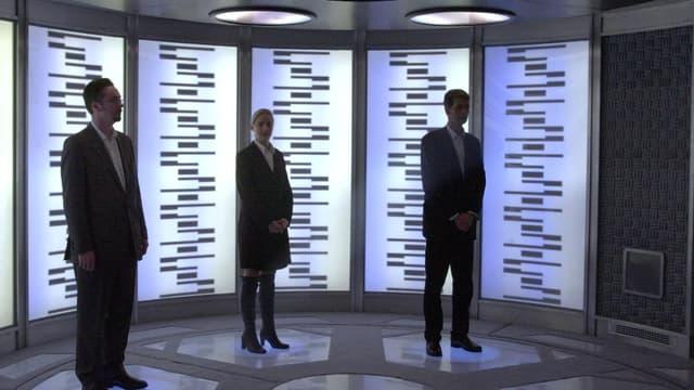 """Pourra-t-on un jour se téléporter comme dans la série """"Star Trek""""? (Ici la salle de téléportation de la série, reconstituée à Londres en 2002)."""