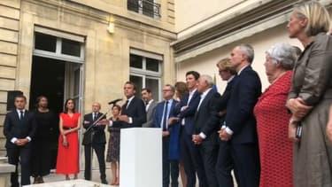 Emmanuel Macron devant les députés LaREM mardi à la Maison de l'Amérique latine.