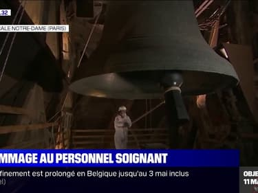 Un an après l'incendie de Notre-Dame de Paris, le bourdon de la cathédrale a tinté à 20h