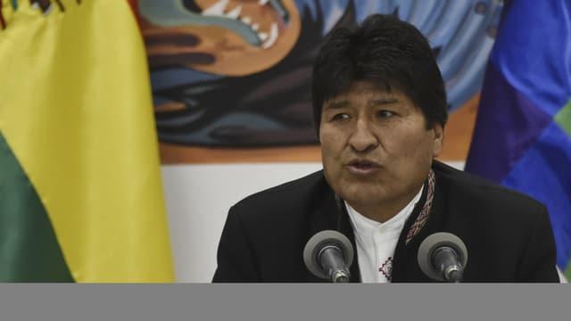 Evo Morales lors d'une conférence de presse, le 23 octobre 2019 - Aizar Raldes - AFP
