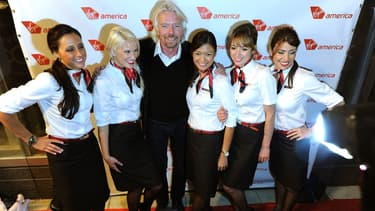 Le patron de Virgin, Richard Branson, lors de l'inauguration d'une nouvelle liaison de Virgin America, en 2011.