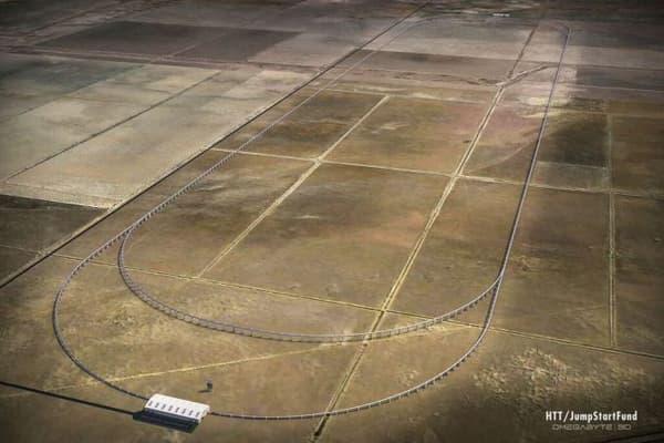 Le tracé de la piste d'essai d'Hyperloop Transportation.