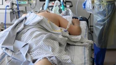 Malade du Covid-19 en réanimation à l'hopital Robert Bosch à Stuttgart, le 24 mars 2021