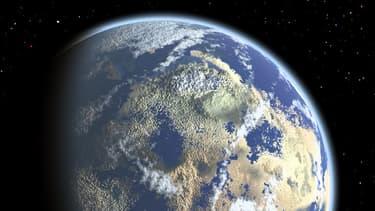 Vue d'artiste d'un monde habitable semblable au nôtre, près d'une naine rouge.