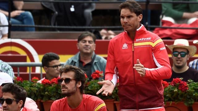 Rafael Nadal lors du quart de Coupe Davis 2018 face à l'Allemagne