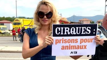 Pamela Anderson manifeste devant un cirque au Luc-en-Provence le 3 juin 2017