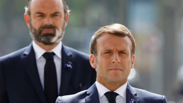 Emmanuel Macron et Edouard Philippe le 8 mai 2020, à Paris.