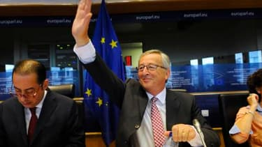 Jean-Claude Juncker, ce mardi 8 juillet, lors d'une réunion avec le groupe socialiste du Parlement européen.