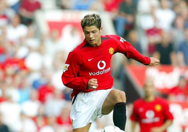 Cristiano Ronaldo avec Manchester United en 2003