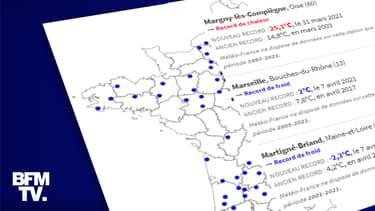 CARTE. Fin mars et début avril 2021, des centaines de records de chaleur et de froid ont été battus en France