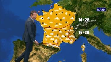 Les prévisions météorologiques le mardi 2 juin.