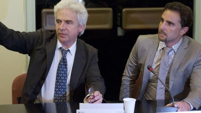 Hervé Falciani et son avocat William Bourdon le 2 juillet 2013 durant son audition à l'Assemblée nationale à Paris.