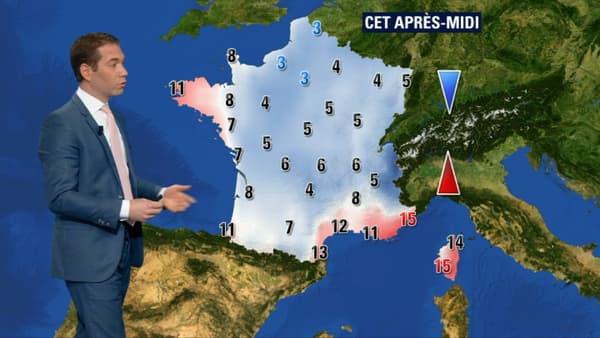 Les températures pour ce lundi après-midi