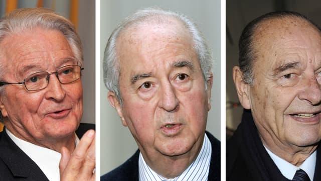 Roland Dumas, Edouard Balladur et Jacques Chirac