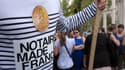 Une manifestation de notaires contre la réforme de leur statut à Marseille le 17 septembre 2014.