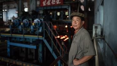 Portrait d'un ouvrier coréen dans le sud de Pyongang