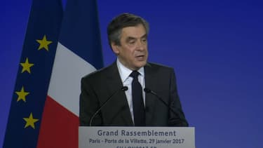 François Fillon lors du meeting de la Villette.