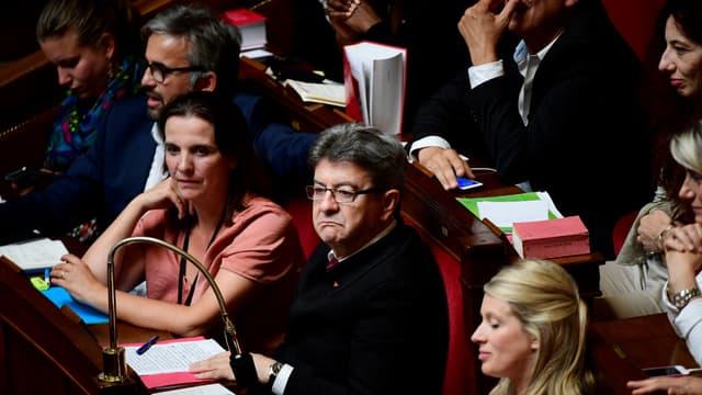 Les députés de la France Insoumise (de gauche à droite):  Mathilde Panot, Alexis Corbière, Caroline Fiat et Jean-Luc Mélenchon à l'Assemblée nationale, le 4 juillet 2017.