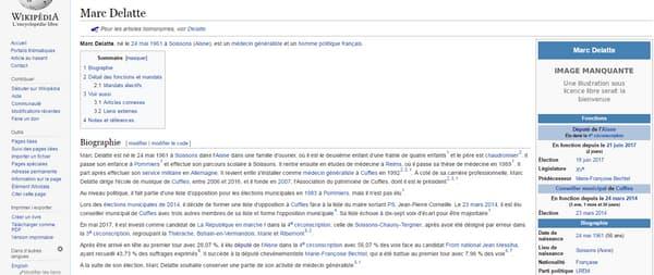 Page du député LREM Marc Delatte, sans photographie