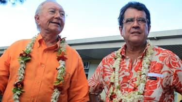 Gaston Flosse et Edouard Fritch, le 5 mai 2013 à Papeete.