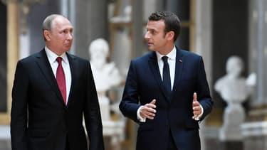 Vladimir Poutine et Emmanuel Macron à Versailles,  en mai 2017.