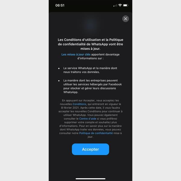 La notification envoyée par WhatsApp aux utilisateurs français