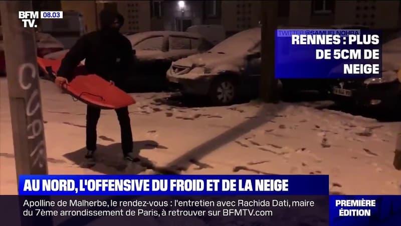 Les images des dernières chutes de neige en Bretagne, en Mayenne et à Paris