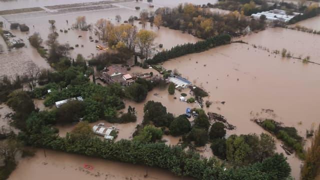 Image aérienne de Le Luc, commune inondée du Var, le 24 novembre 2019