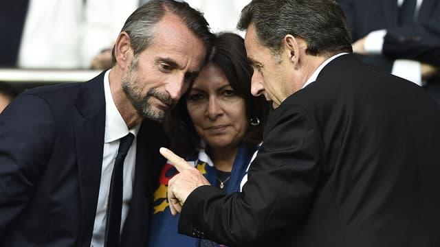 Nicolas Sarkozy en conversation avec Jean-Claude Blanc et Anne Hidalgo
