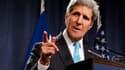 John Kerry à Genève le 17 avril 2014 lors d'une conférence de presse.
