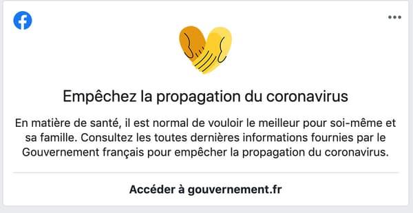 Le fil d'actualité de Facebook renvoie aux recommandations gouvernementales.