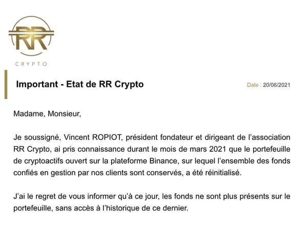 Introduction du mail envoyé par Vincent Ropiot aux investisseurs de RR Crypto