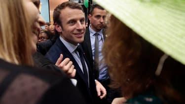 Emmanuel Macron en 2017, alors en campagne, au Salon de l'Agriculture.
