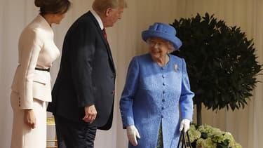 Le président Trump et son épouse Melania rencontrant la reine d'Angleterre le 13 juillet au château de Windsor.