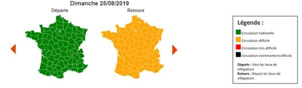 Dimanche 25 août,  la journée est classée orange dans le sens des retours au niveau national.